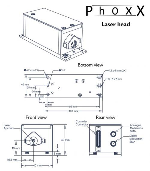 PhoxX dimensional drawing laser head